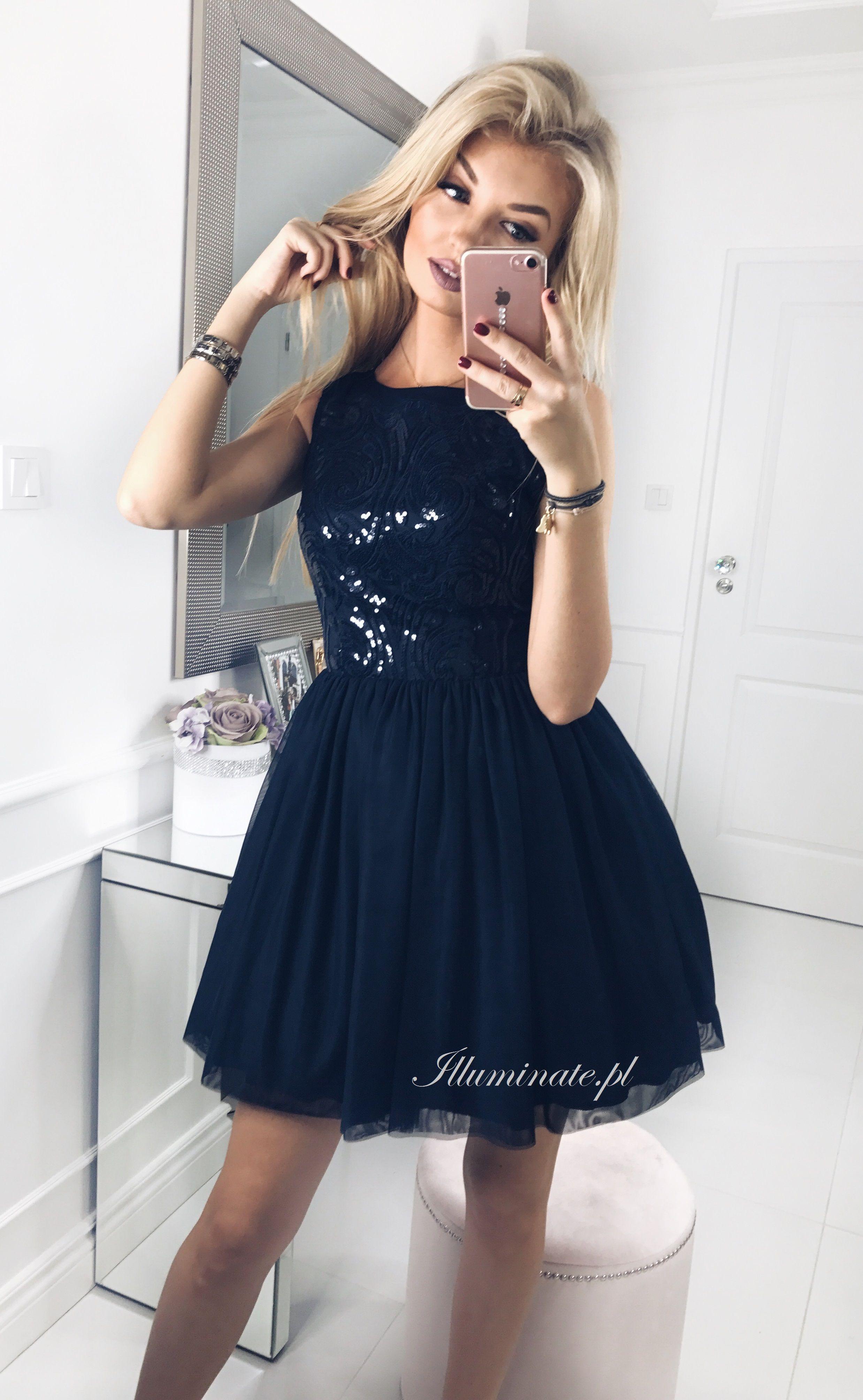 Tiulowa Granatowa Sukienka Tulle Dark Blue Dress Illuminate Pl Dresses Black Dress Little Black Dress