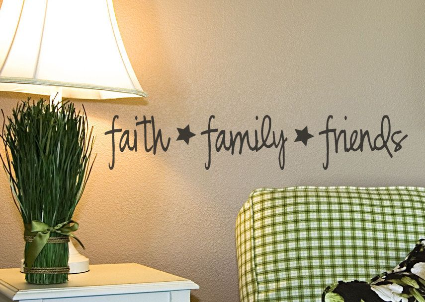 Faith Family Friends Vinyl Wall Decal Primitive Decor Words Lettering With Cute Stars Country Prim