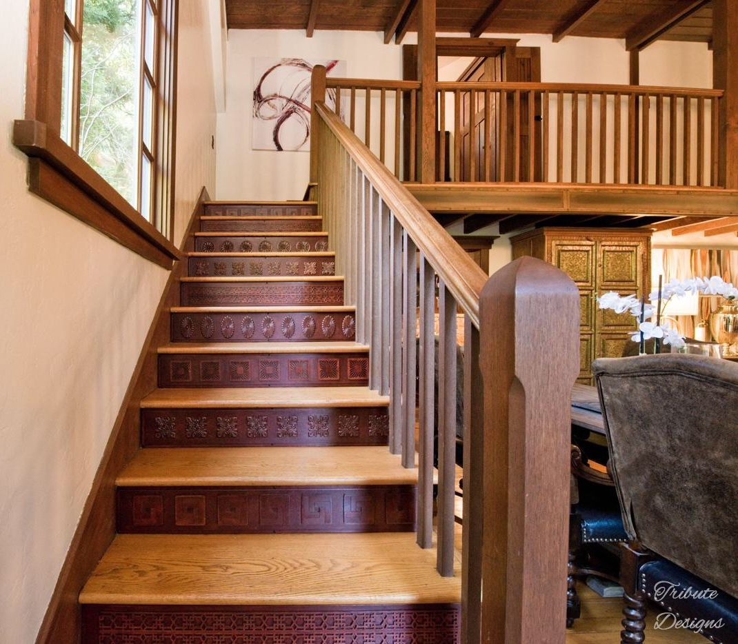 Carved Wood Stair Risers Stair Ideas Stamped Leather Stairs | Tread Riser Staircase Design | Effective | Contemporary | Cad Detail | Folded Plate | Angled