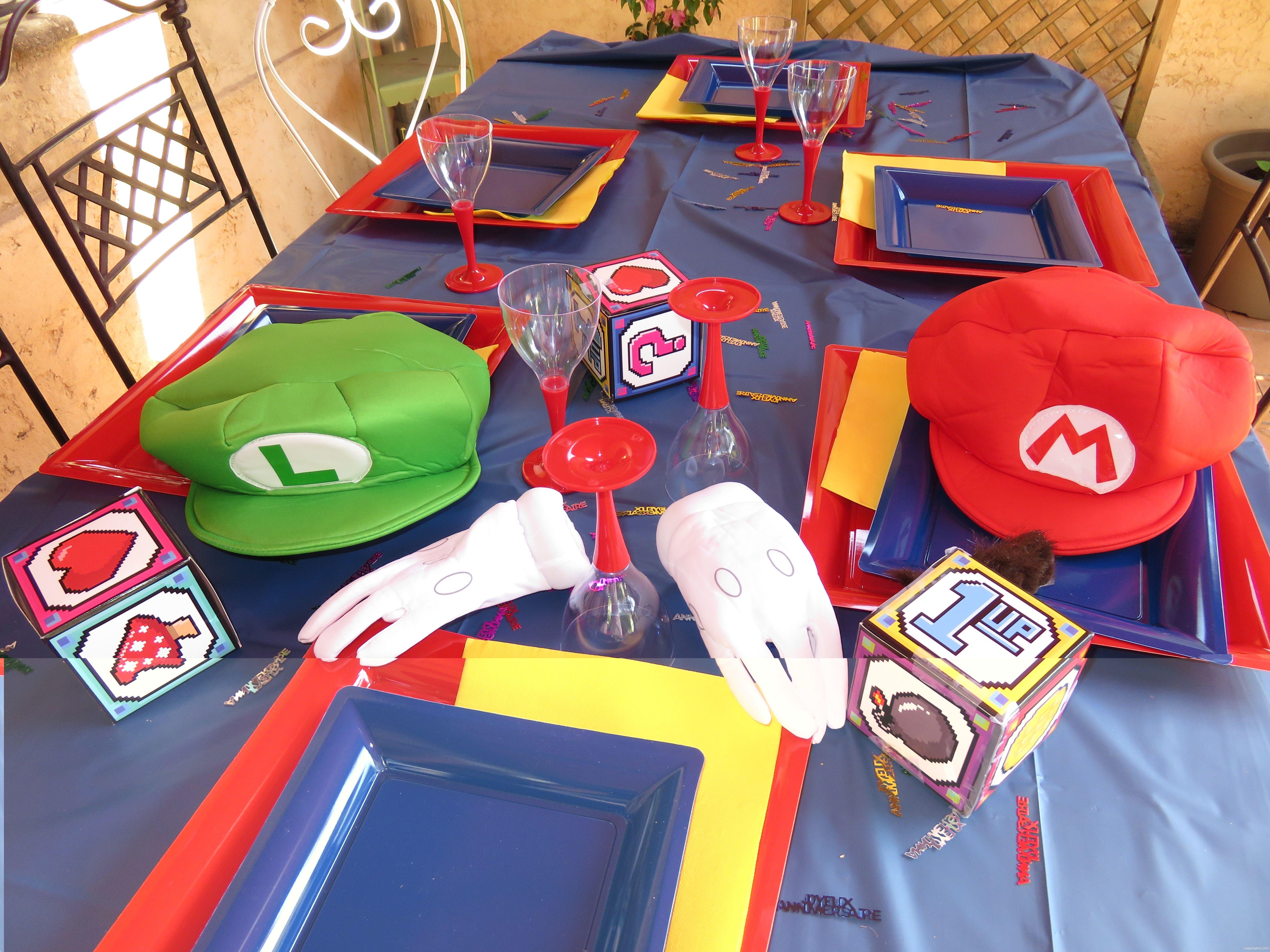 Décoration De Table Originale Jeux Videos Années 80 Mario Bros En