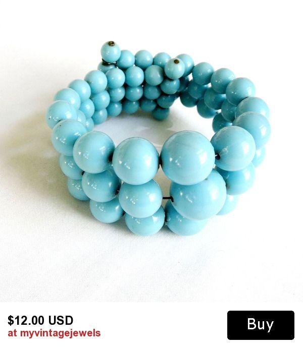Vintage Graduated Blue Beads 3 Strand Memory Wire Coil Wrap Bracelet!