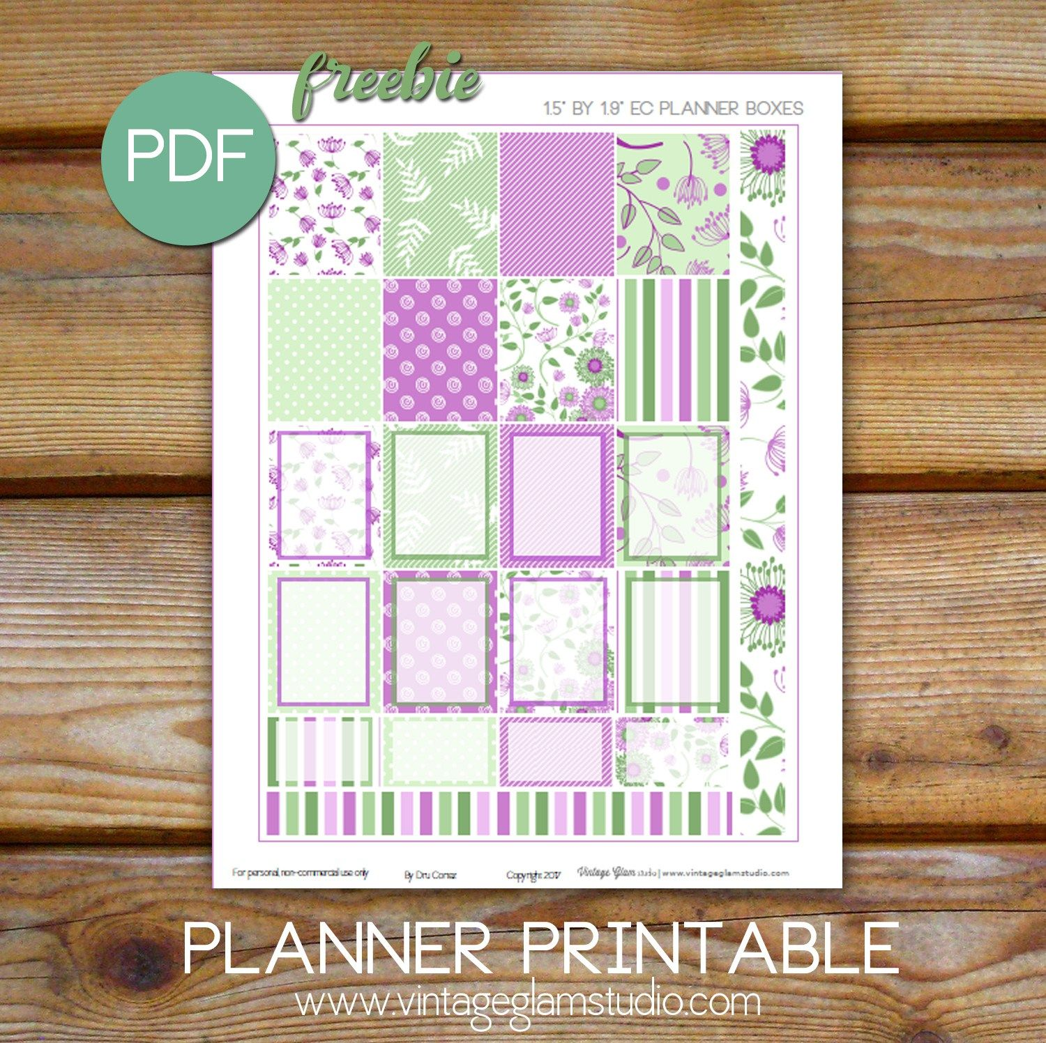 Purple Floral Planner Stickers Free Printable