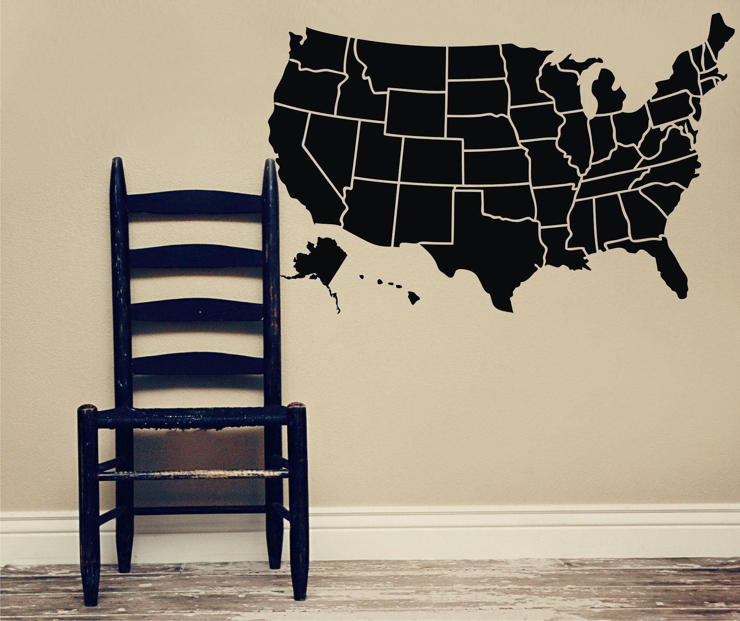 Chalkboard Usa Map Map Of The United States Of America Lola Decor