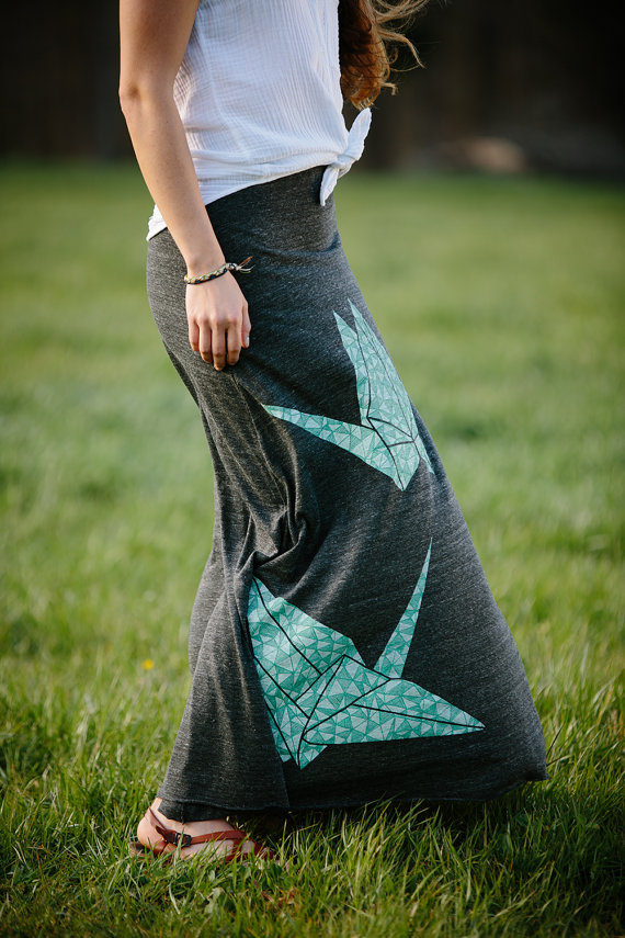 Maxi Skirt Long Skirt Paper Crane Skirt Origami Skirt Etsy Shop