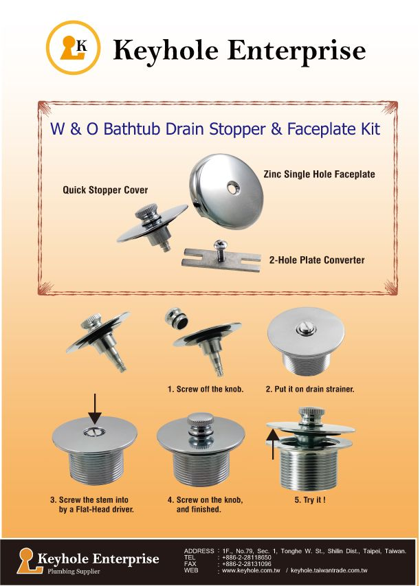 This bathtub drain stopper and faceplate kit is easy to install. Use ...