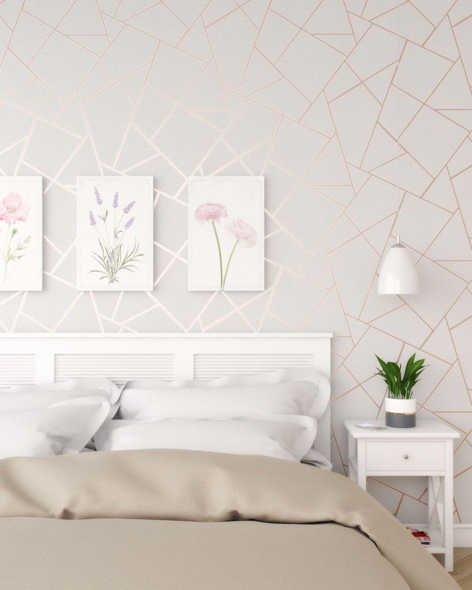 Vintage Rose Gold Bedroom Using Fractal Geometric Wallpaper Rose Gold Bedroom Gold Wallpaper Bedroom Wallpaper Design For Bedroom
