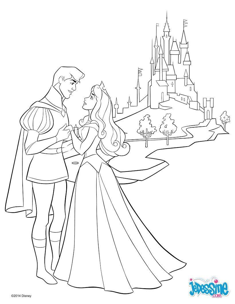 Coloriage De Prince Et Princesse A Imprimer.Voici Un Beau Coloriage De Aurore La Princesse Disney De La