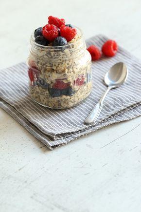 Chia-Oats mit Blaubeeren und Himbeeren  – Frühstück