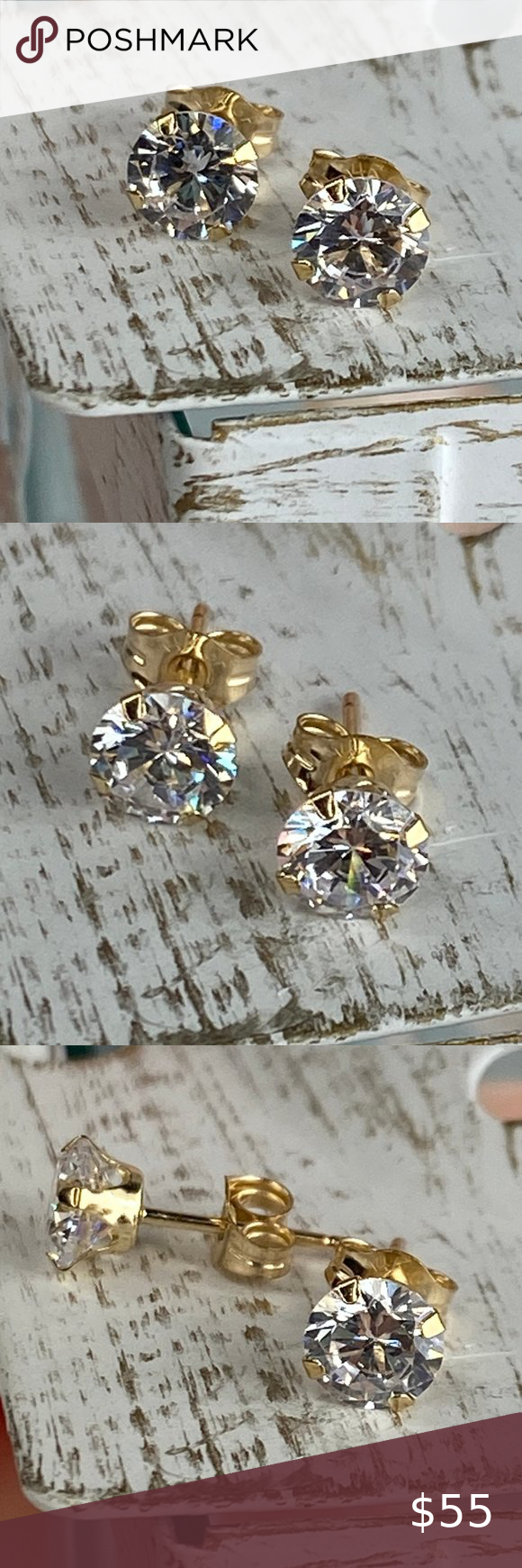 Solid 10k Gold Cubic Zirconia Stud Earrings In 2020 Stud Earrings Cocktail Jewelry Cz Stud Earrings