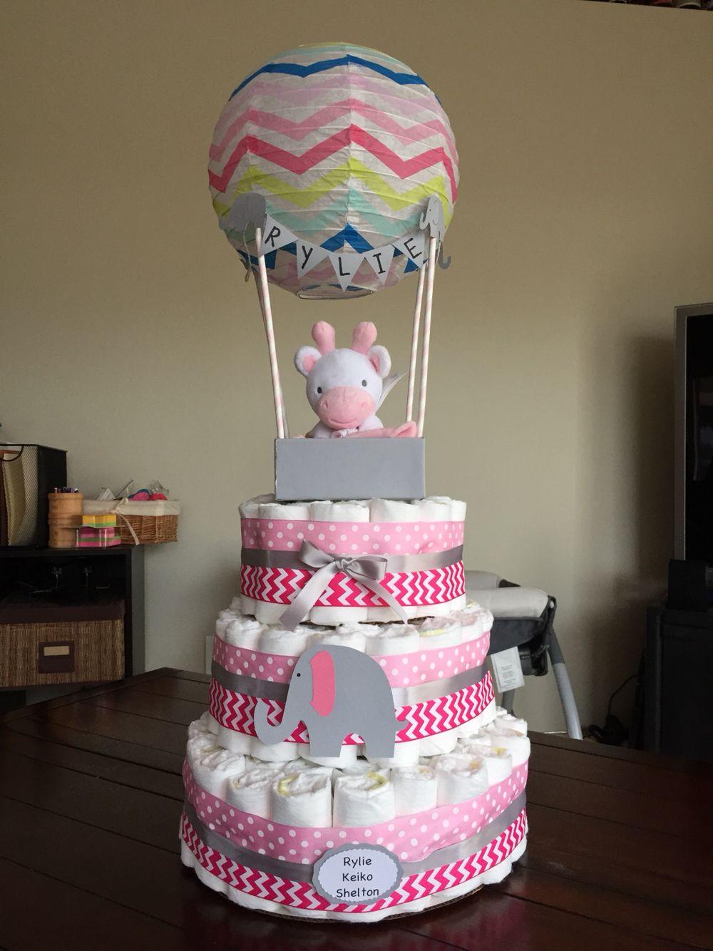 hot air balloon diaper cake baby shower diape. Black Bedroom Furniture Sets. Home Design Ideas