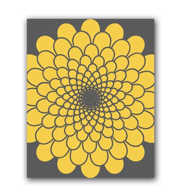 Mustard Yellow And Gray Flower Burst Art 8\