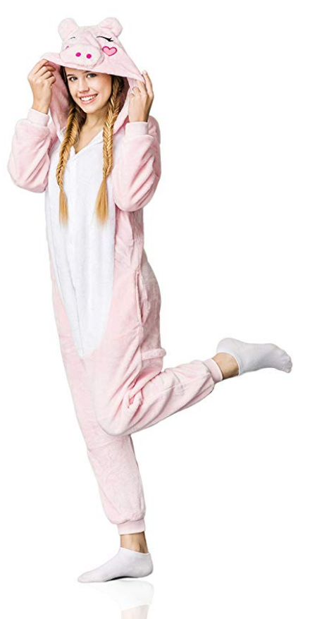Cute and cuddly pig onesie for adults. Fun pajamas or an easy lazy  Halloween costume. Great gift for pig lovers and owners. 6b7111ce2a84