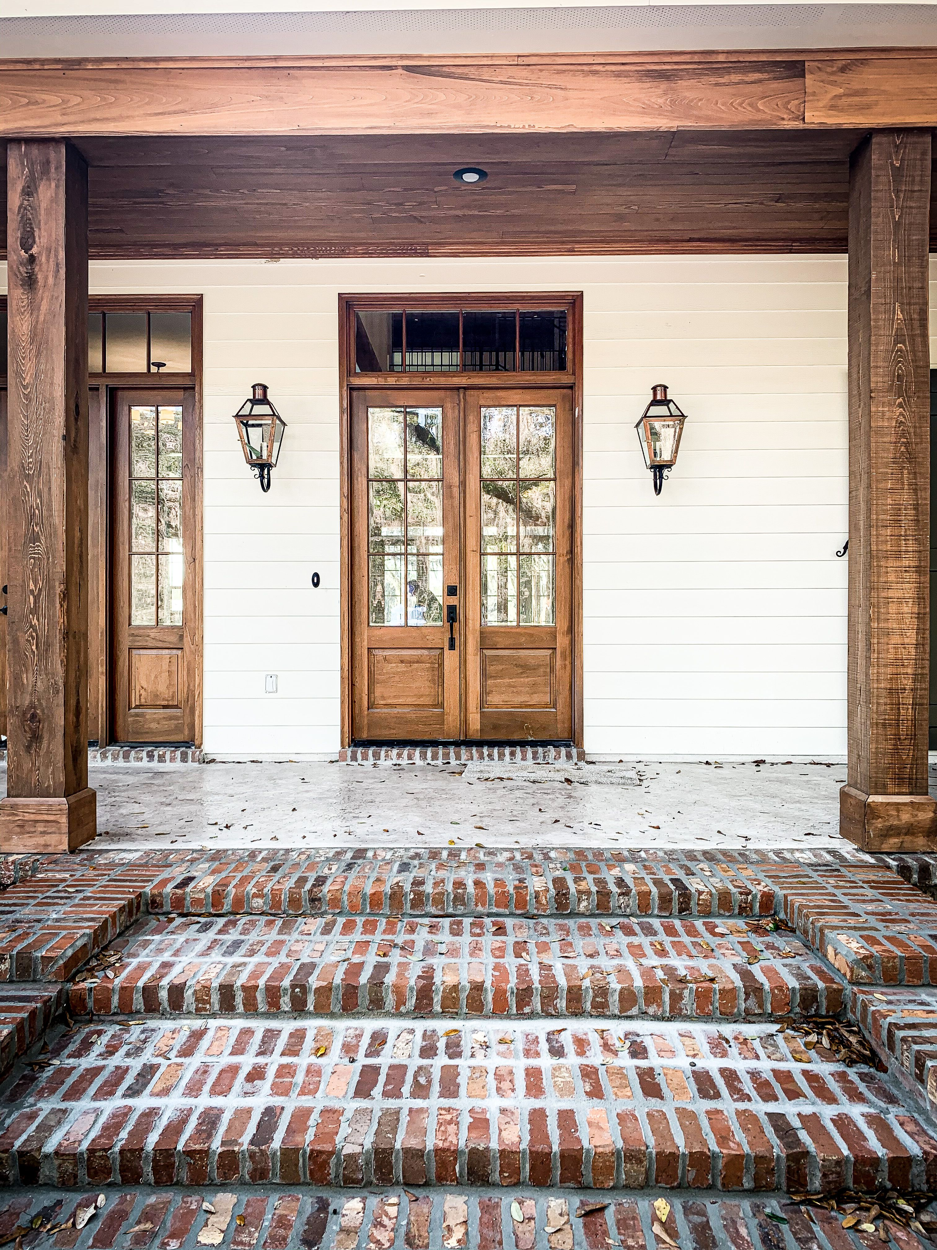 Acadian Style Front Porch French Doors Cedar Cypress