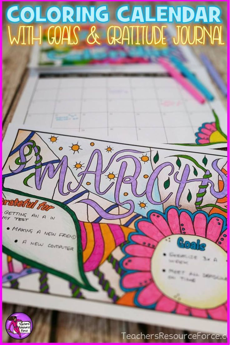 Relax With Art Calendar : Coloring calendar with goals and gratitude journal updated for