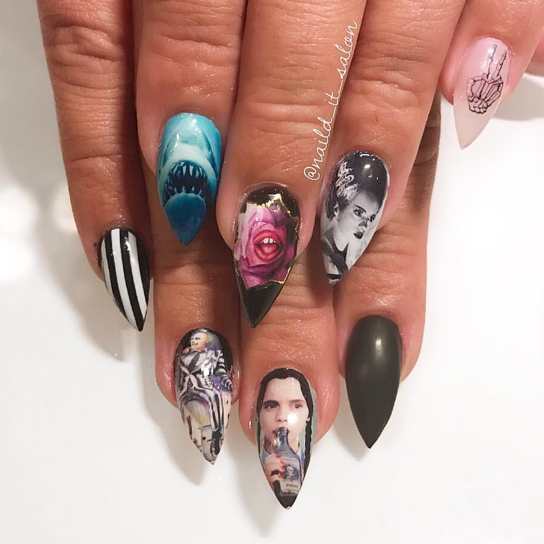 Nail art, Movie images, Halloween nails, horror nails, | Nail ...