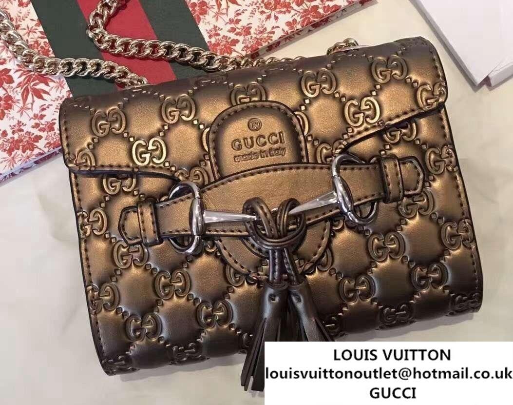 2f30729a41183 Gucci Emily Guccissima Leather Chain Shoulder Mini Bag 369622 Bronze ...