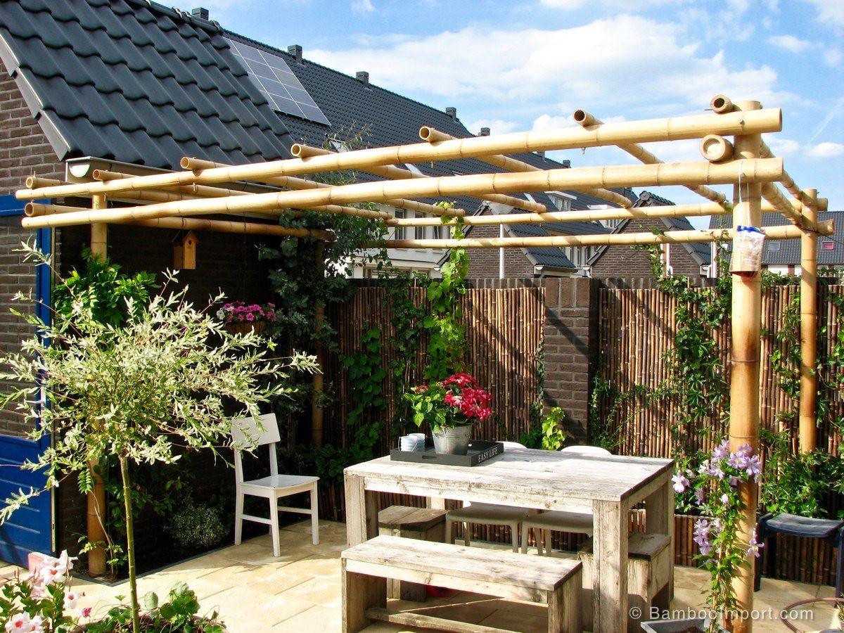 How to Build a Bamboo Pergola Outdoor pergola, Backyard