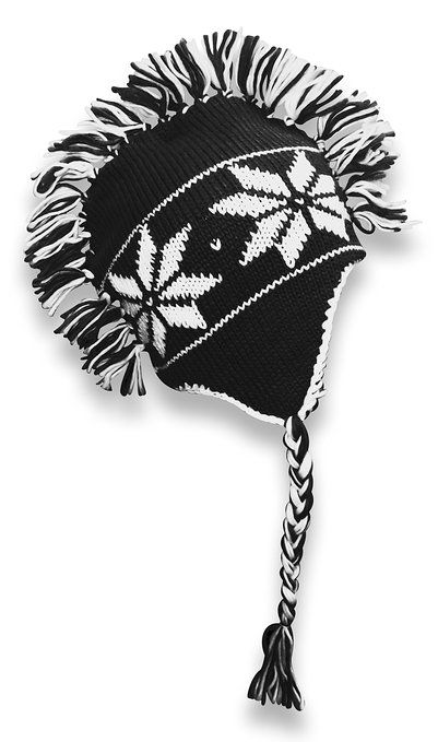 Knit Snowflake Unisex Trooper Trapper Mohawk Fringe Ski Hat (Black) 6 Designs listed under 10. Def Planet