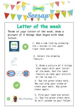 Seesaw Letter of the Week Task Card Seesaw, Task cards
