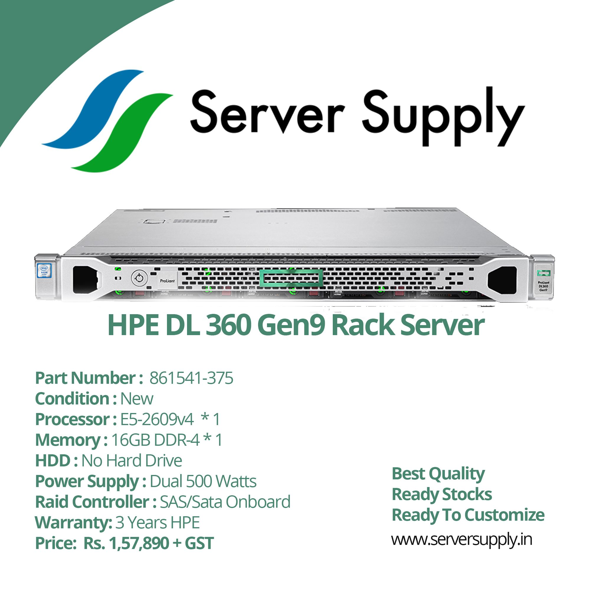 Buy HPE DL 360 Gen9 Rack Server Online From serversupply in