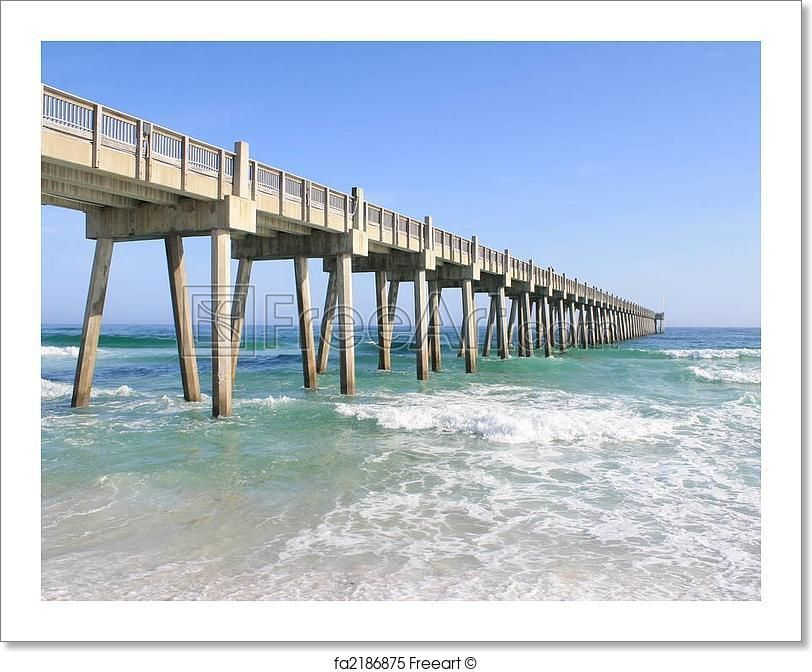 Pier At The Beach Colored Art Print From Freeart Com Pensacola Beach Pier Fishing Pensacola