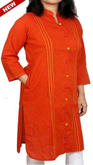 Carrot Orange Cotton Corporate Kurta for Office Wear