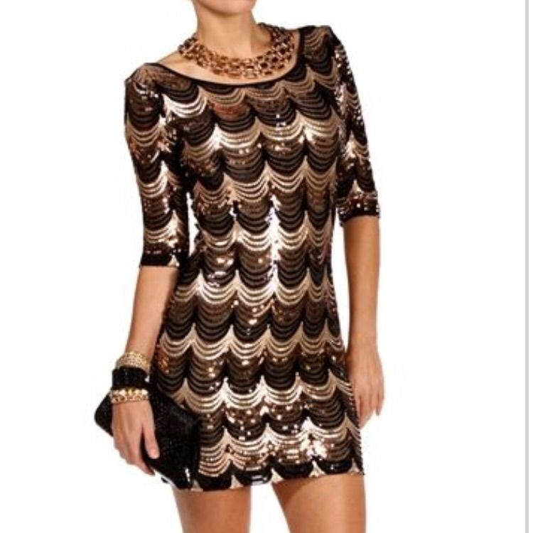 4b6bb344ee Scalloped Sequin Bodycon Dress