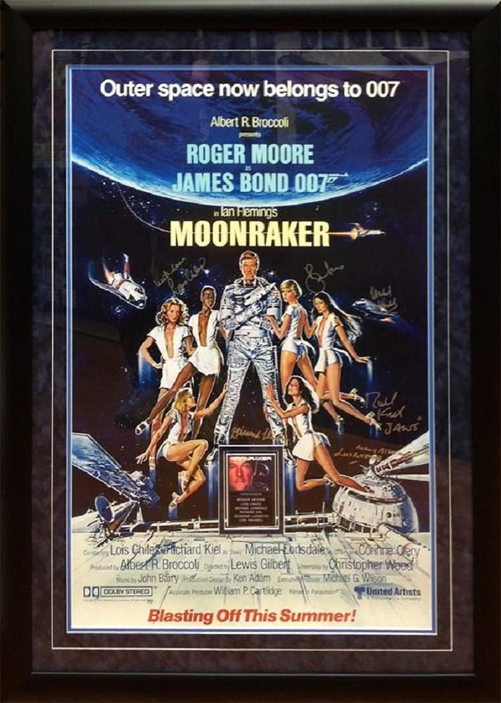 James Bond Moonraker Movie Poster Signed By Roger Moore And Cast