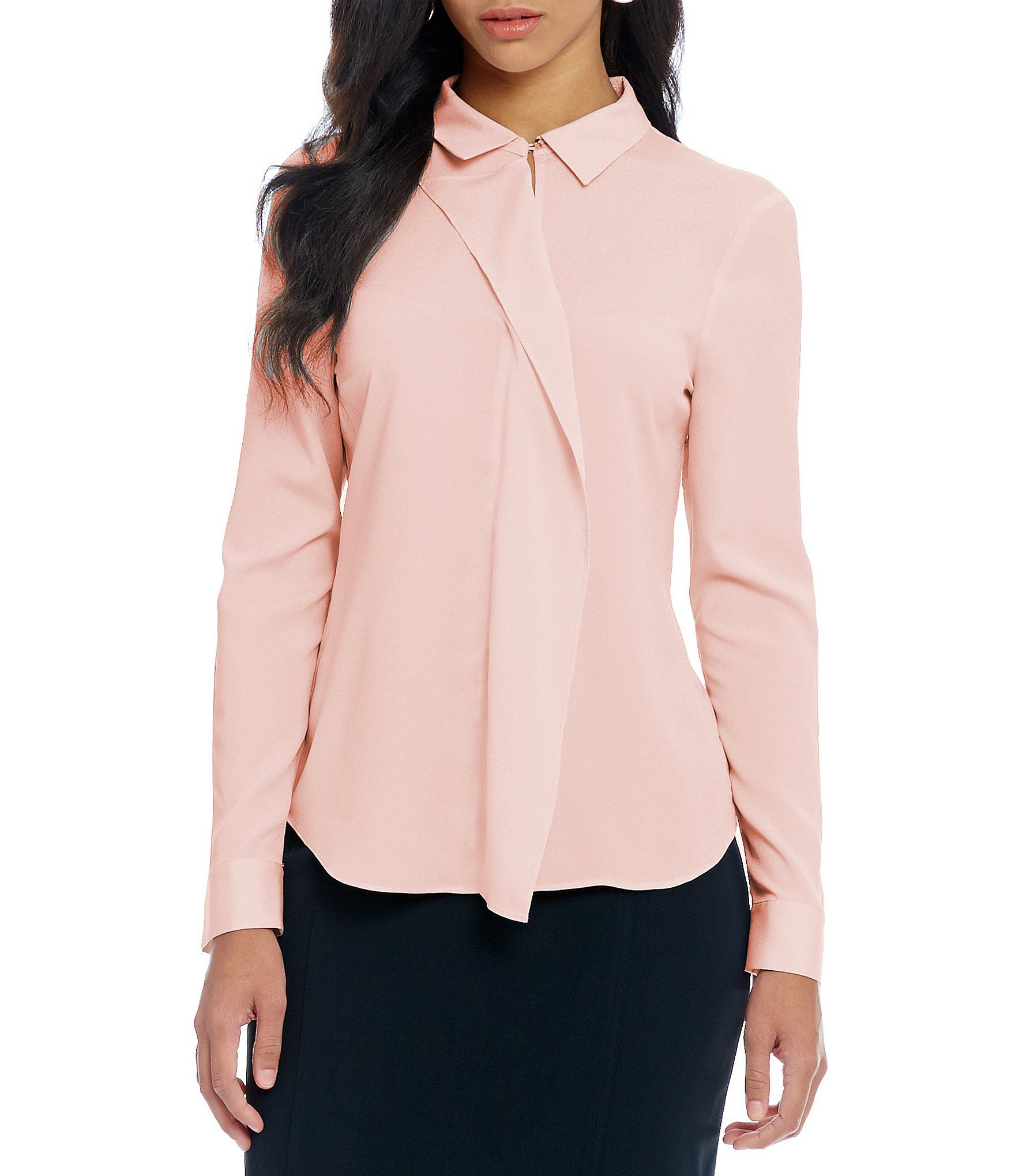 Ivanka Trump Convertible Collar Ruffle Front Long Sleeve Blouse ...