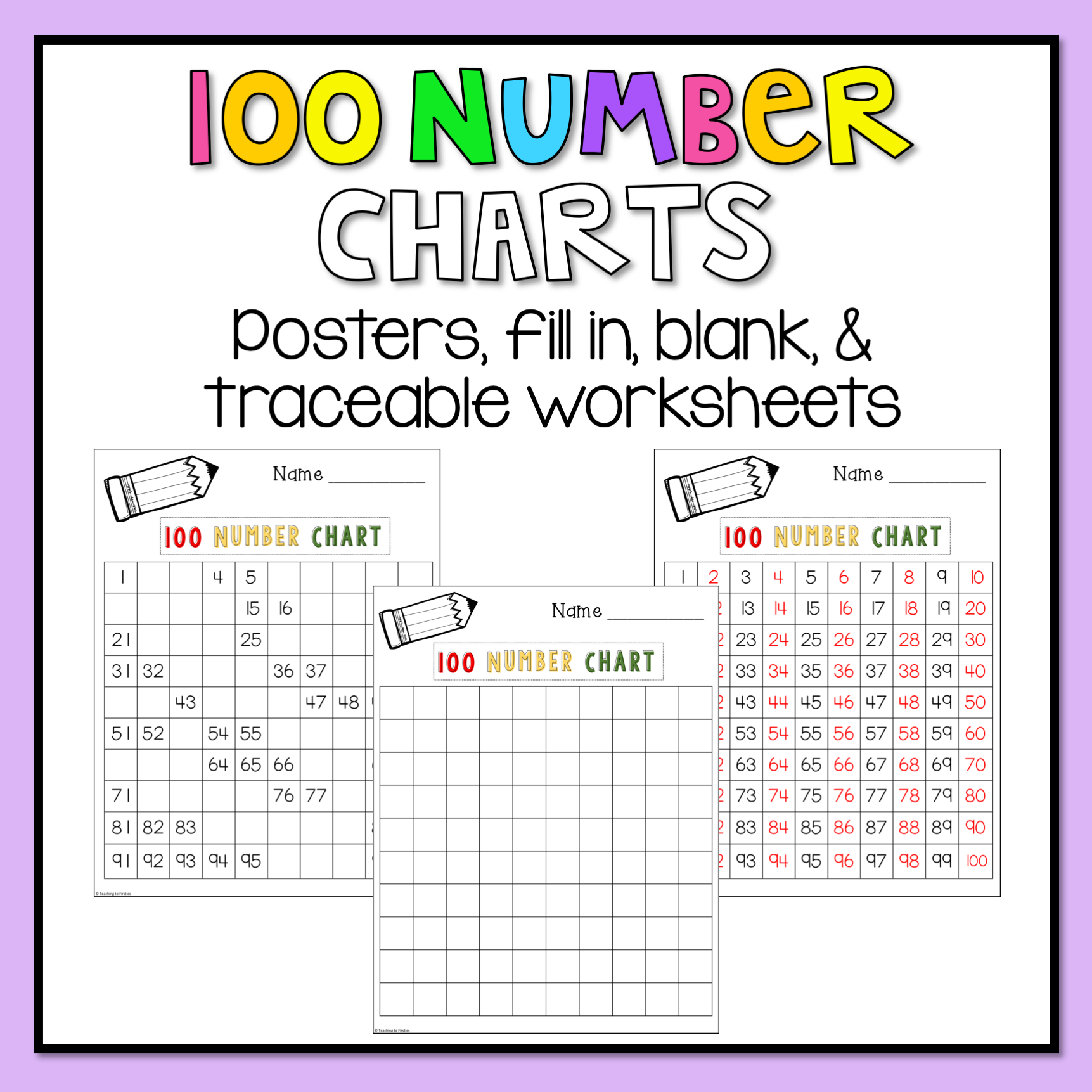 100 Number Chart Worksheets