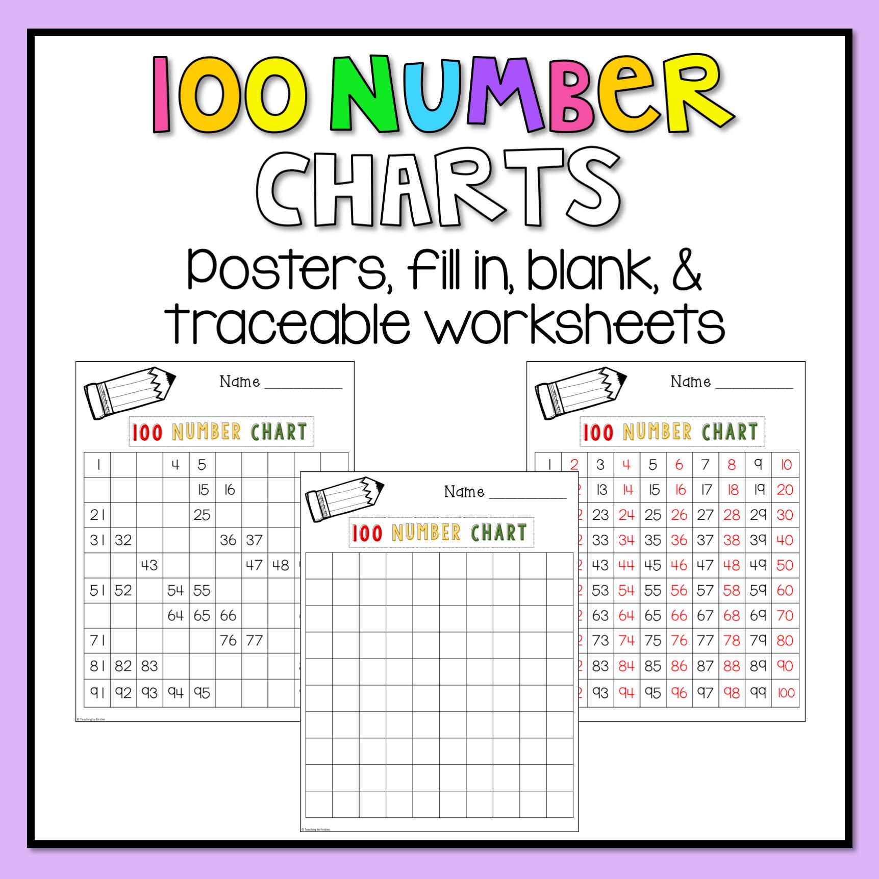 100 Number Chart Worksheets