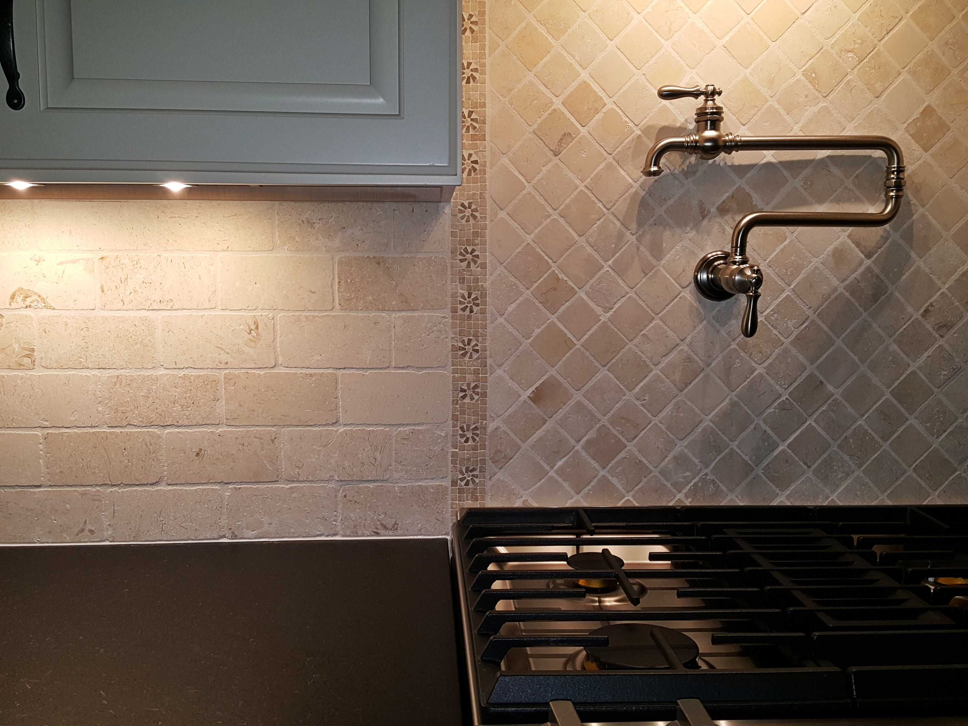 - Loved The Look Of The Off White Brick Patterned Backsplash And