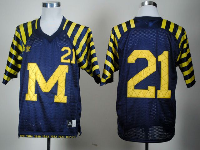 huge selection of 89acf 63f0e Men's NCAA Michigan Wolverines #21 Navy Under The Lights ...