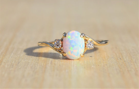 Exquisite Ring lila weißen Opal 14K Solid Rose Diamond Party Ring Charm Geschenk