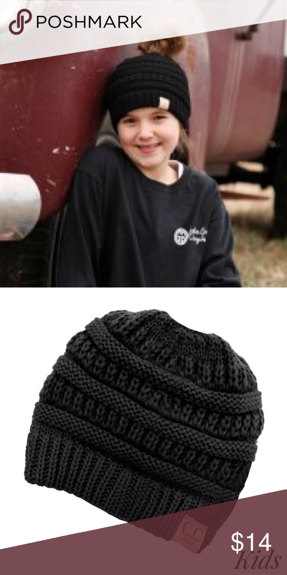 579fb33e1a0 Kids CC Messy Bun Beanie This is a brand new beanie for kids messy bun it  has hole to allow messy bun or ponytail to show cc beanie Accessories Hats