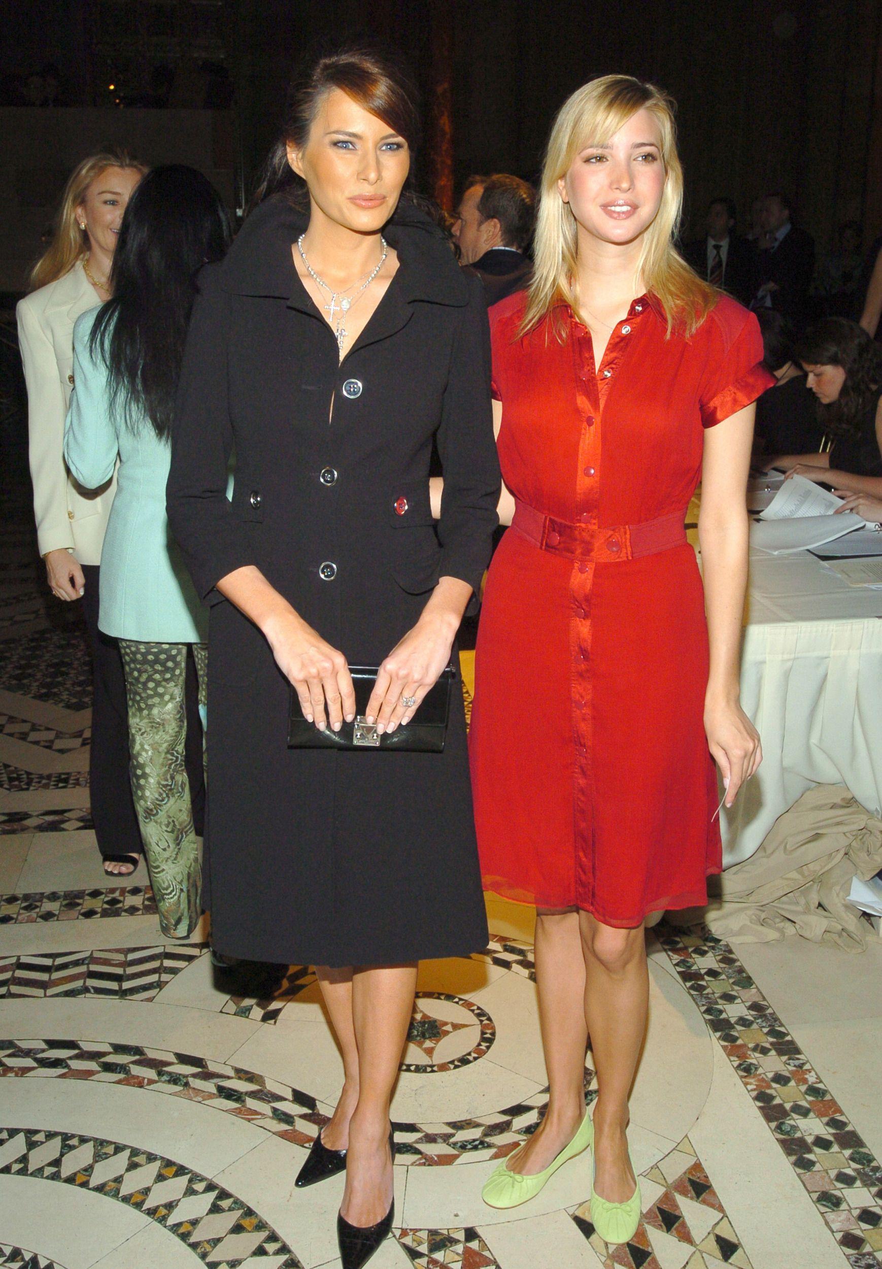 Melania Knauss and Ivanka Trump during Dennis Basso Fashion Show - Fall  2004 - Arrivals at