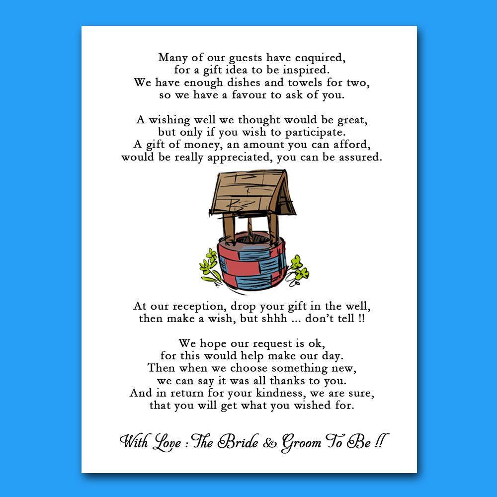 Wishing Well Wedding Honeymoon Cash Money Voucher Request Poem Cards ...