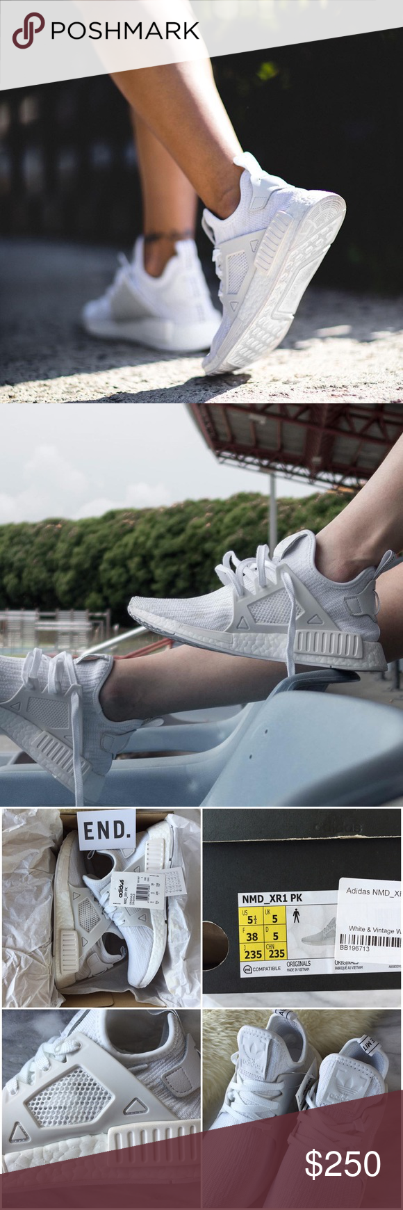 8a5dd3b7e6d72 Adidas Triple White NMD XR1 Sneakers •Triple white NMD XR1 Sneakers. •Men s  size