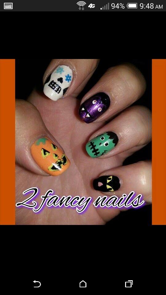 Halloween nail design back cat frankenstein dracula sugar skull ...