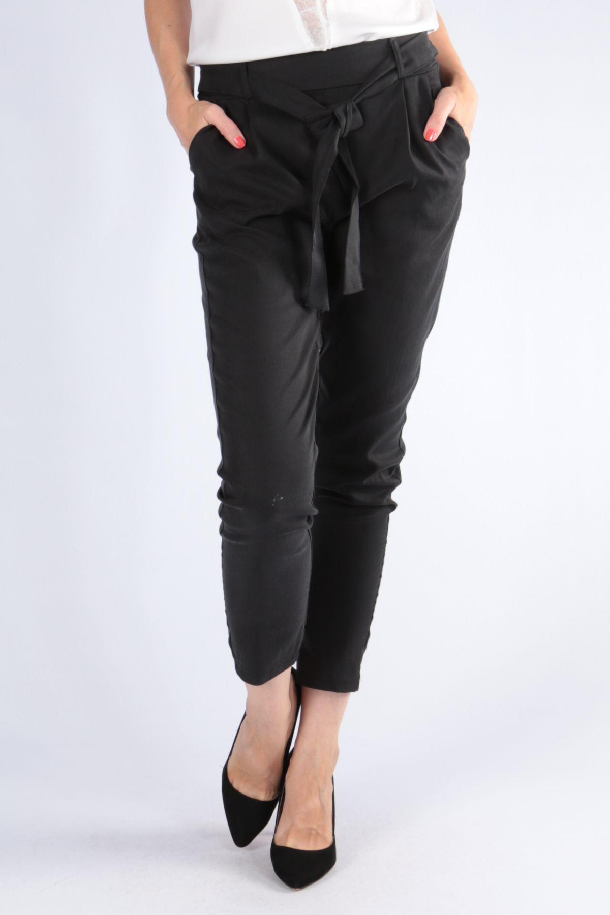 e0cef0e31a50 Dámske čierne nohavice s opaskom