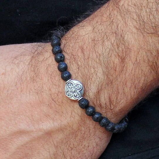 Men S Black Beaded Bracelet Lava Stone Beads Handmade Trendy Gift For
