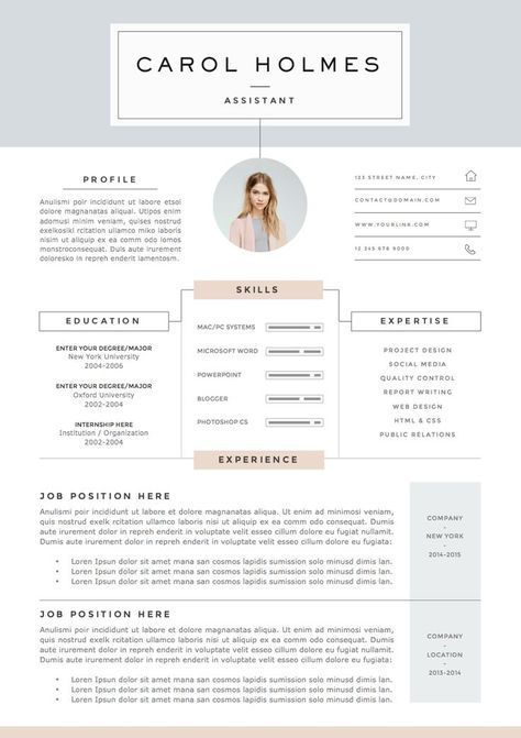 Resume Template For Pages Resume Template 4Page  Milky Waytheresumeboutique On