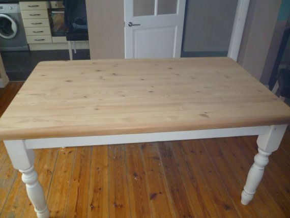 Shabby Chic Solid Pine Farmhouse Table Up Cycled In Annie Sloan Original  White Chalk Paint