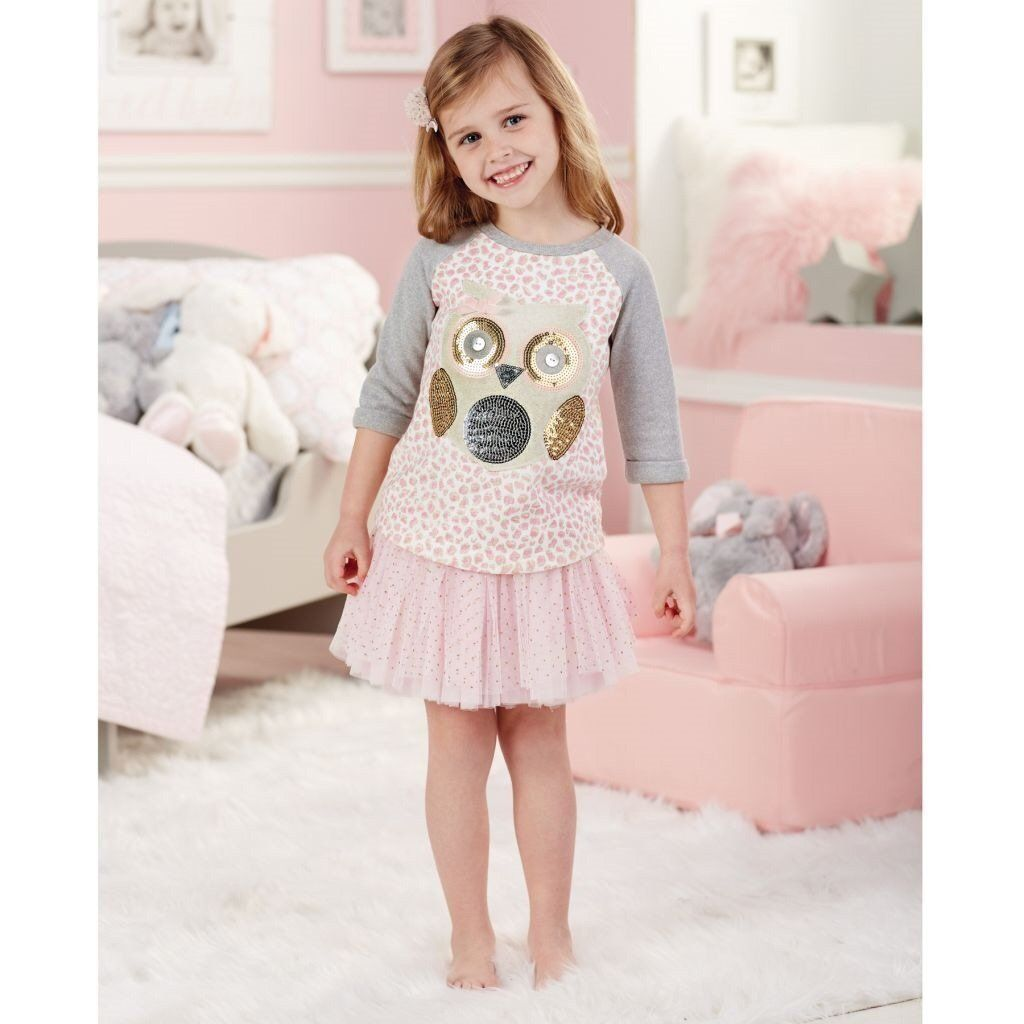 Mud Pie Girls Leopard Print Tutu Dress Pink Spotted Owl Collection New