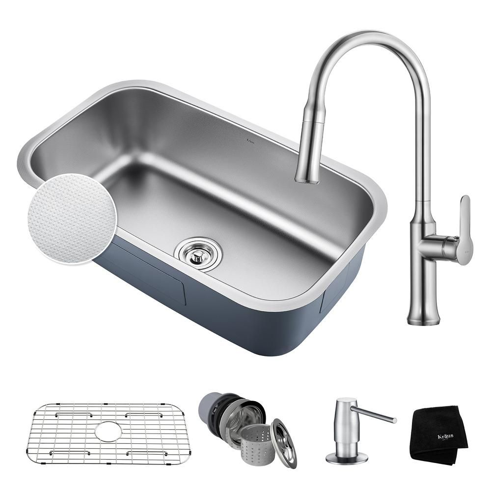 Kraus Outlast All In One Undermount Stainless Steel 32 In Single