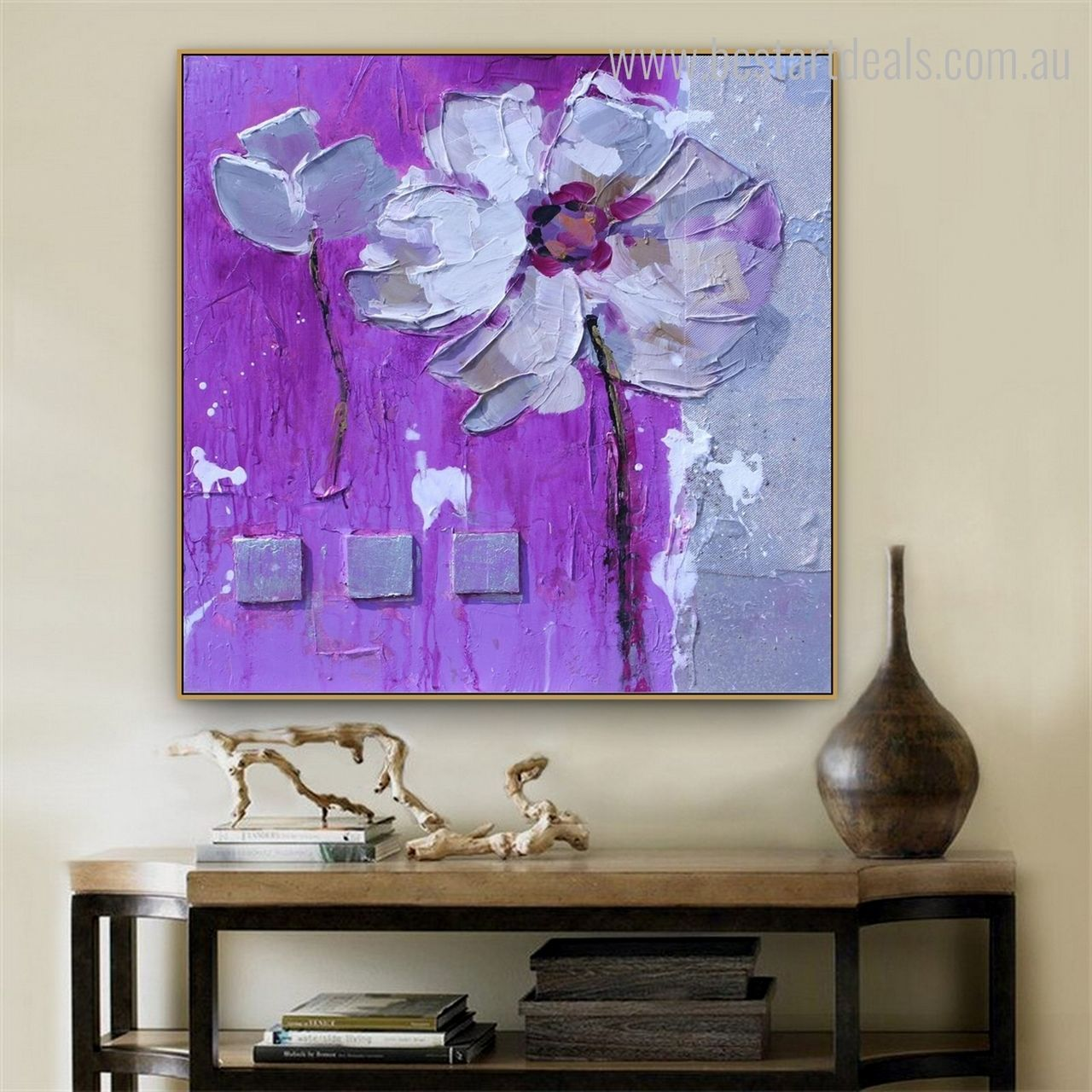 Embrace purple flower that would become the showcase point in your home once hung on your walls.  #floralartwork #artinvestment #canvasprints #printsforsale