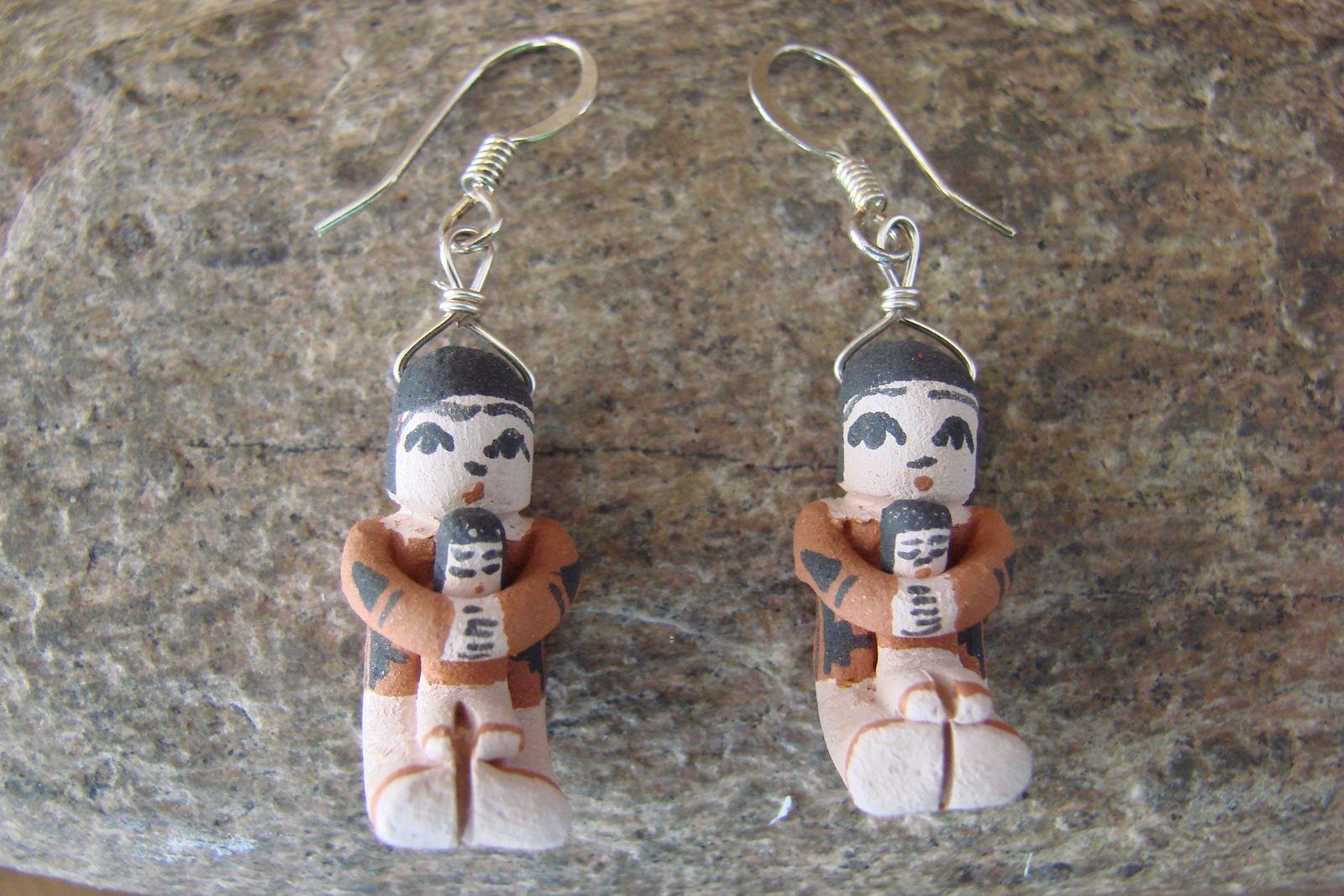 Jemez Indian Pueblo Handmade Clay Storyteller Earrings by Angel ...