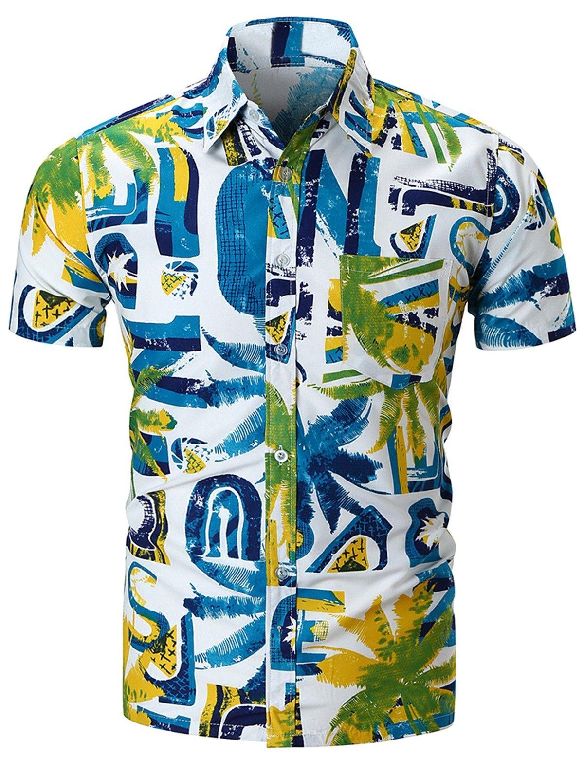 Watercolor Coconut Palm Print Button Up Shirt Multi 3u71616212