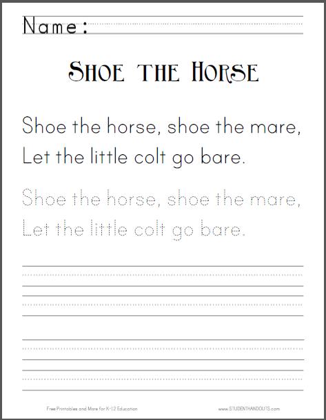 Shoe the horse, shoe the mare, Let the little colt go bare ...