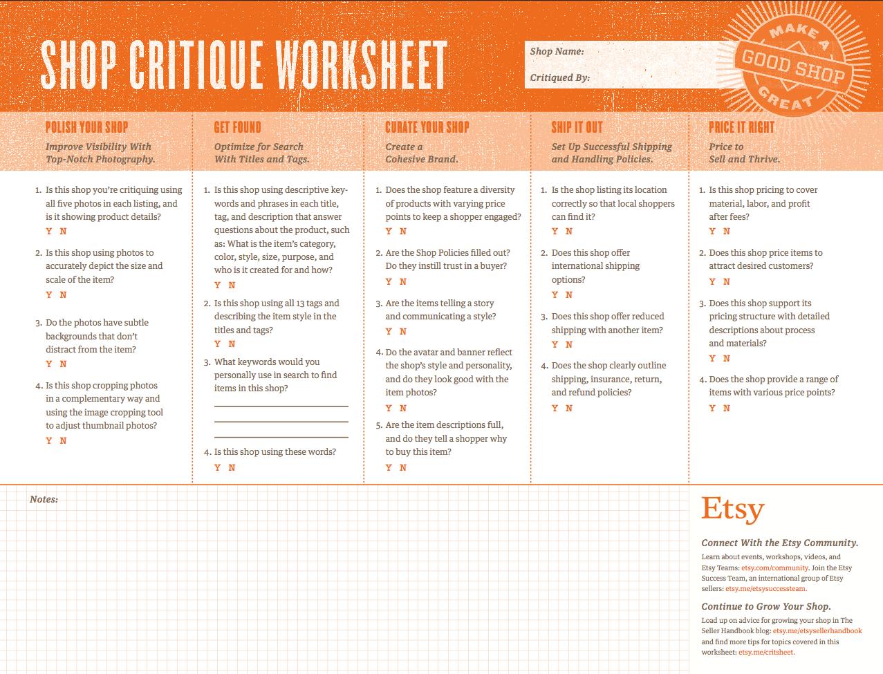 Shop Critique Worksheet S Sy Blog En